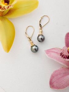 14K Gold Black Pearl Dangle Earrings with Stones - Polynesian Cultural Center