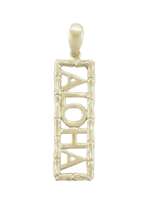 14K Gold Bamboo Aloha Pendant - The Hawaii Store