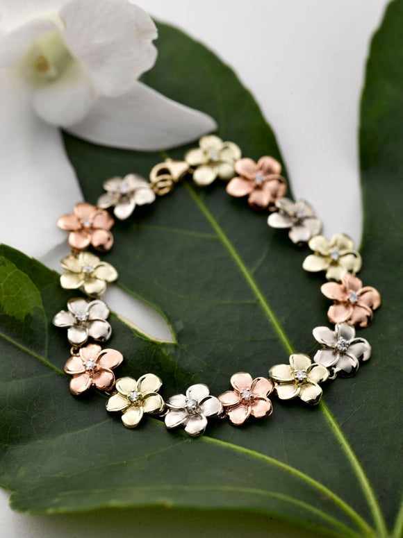 14K Tri-color gold Plumeria Bracelet with Stones - The Hawaii Store