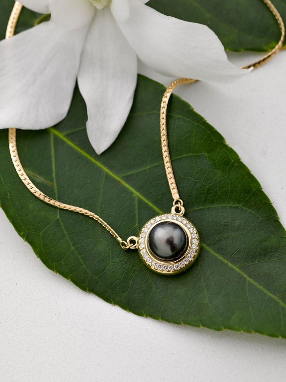14K Gold Black Pearl Pendant w/Stones and Chain - The Hawaii Store