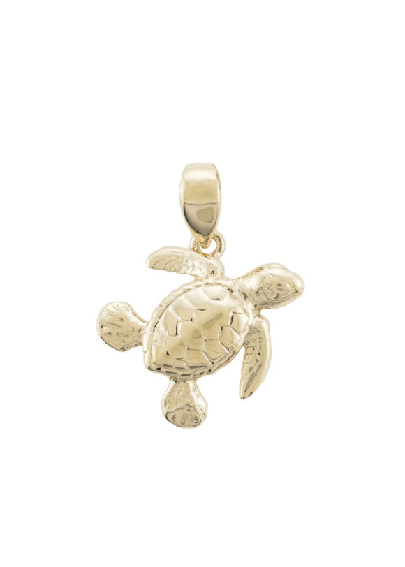 14K Gold Honu Pendant - The Hawaii Store