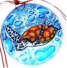 Handcrafted Glass Green Sea Turtle Ornament - Polynesian Cultural Center