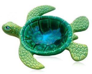 Ceramic Marine Green Honu or Turtle Bowl 5'' - The Hawaii Store