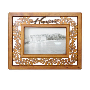 Tropical Leaves Wood Picture Frame
