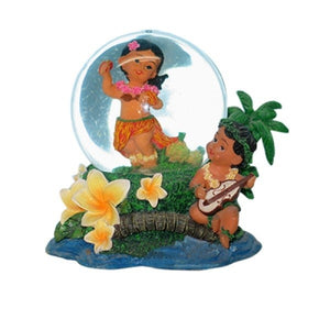 Hula Dancer and Ukulele Boy Waterglobe - The Hawaii Store
