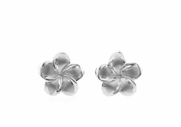 Sterling Silver Plumeria Earrings large - The Hawaii Store