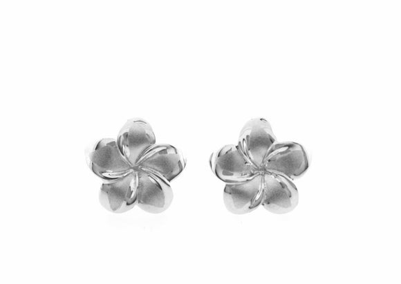 Sterling Silver Plumeria Earrings Medium - The Hawaii Store