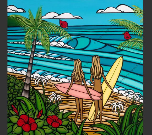 Matted Print ''Surf Sisters'' by Heather Brown 12x12 - Polynesian Cultural Center