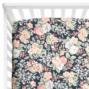 Navy Blooms Cot Sheet