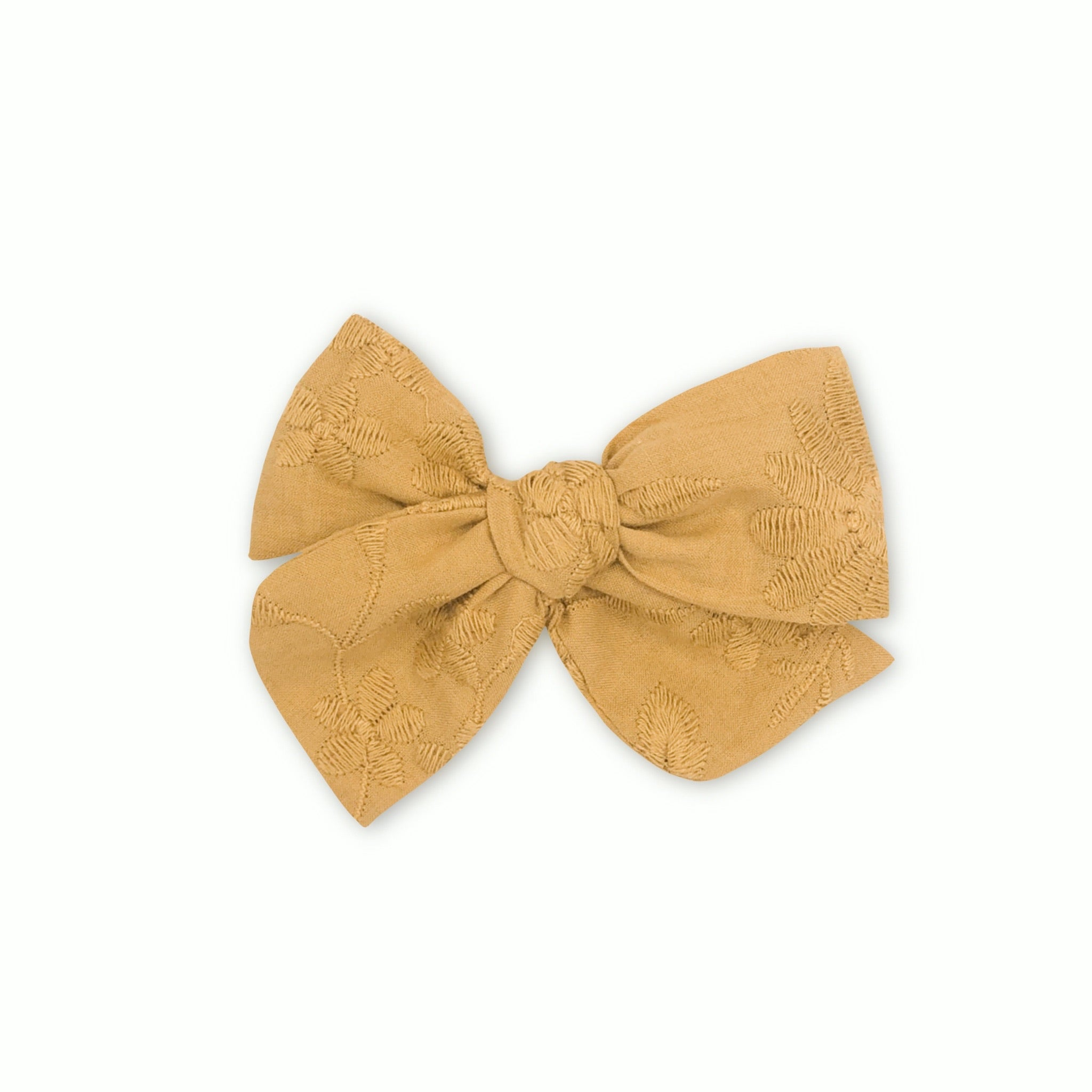 Ochre Embroidered Pinwheel Bow