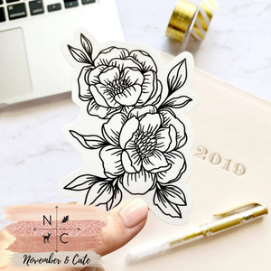 Line Drawn Peonies Sticker