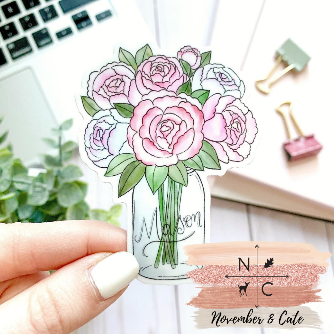 Mason Jar Peonies Sticker
