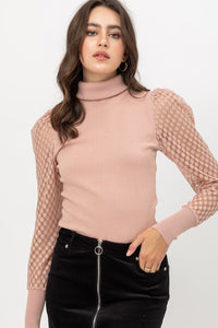 Alter Ego Puff Sleeve Top- Mauve