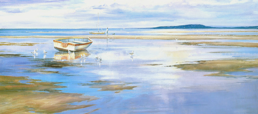 Canvas or Paper Print of Dinghy and Seagulls