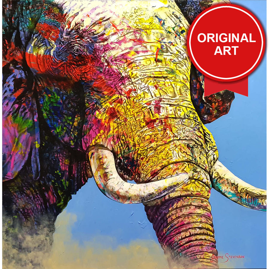 Painting of Psychedelic Elephant (Original)