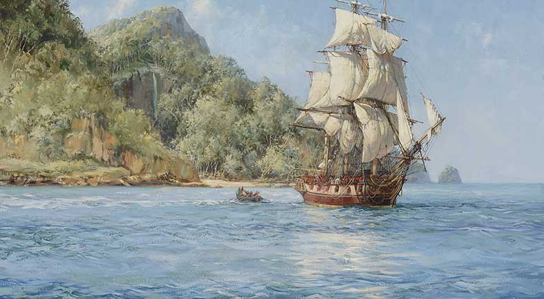 Canvas or Paper Print of Pirates Haunt Cocos Island Pacific by Montague Dawson