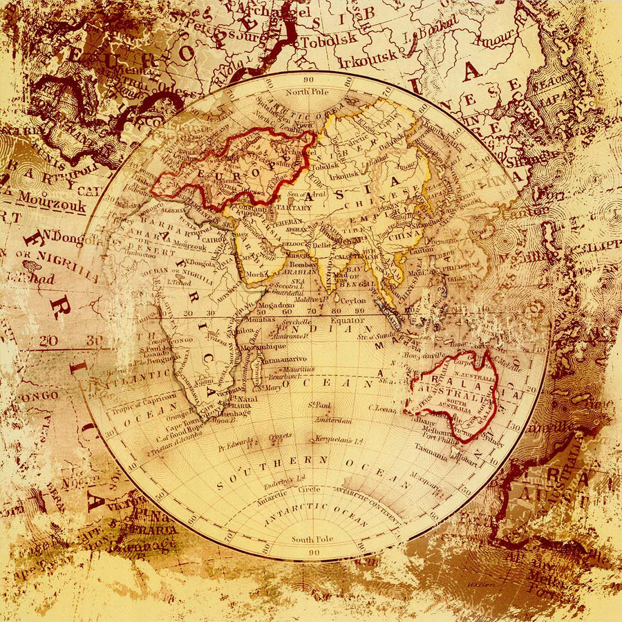 Canvas or Paper Print of World Map