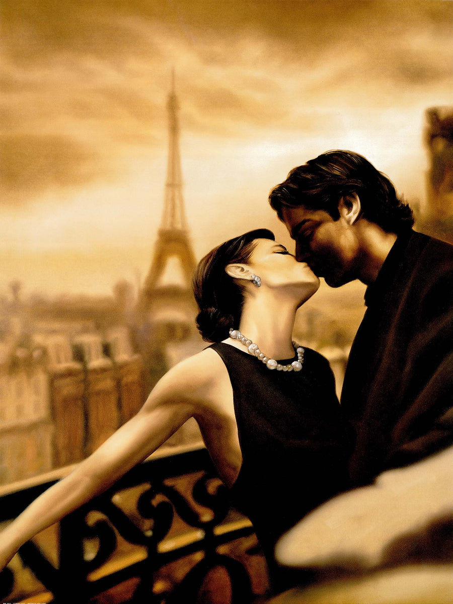 Canvas or Paper Print of Paris Kiss