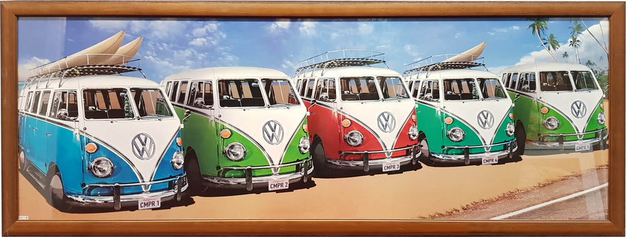 Framed Print of Five VW's