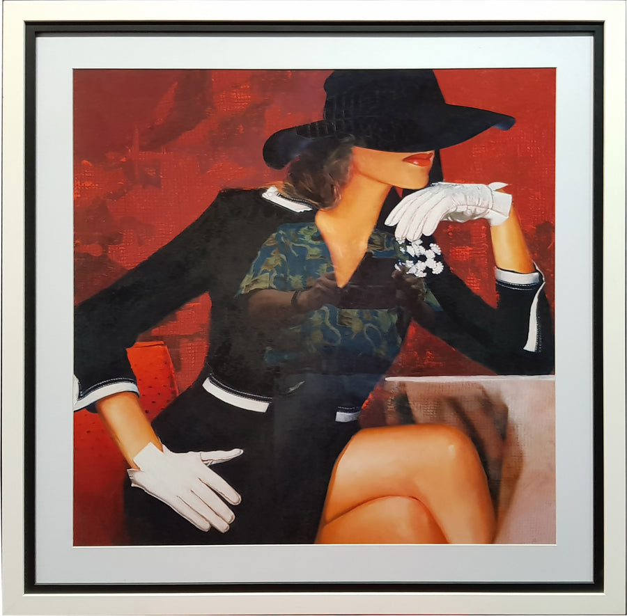 Framed Print of Black Hat White Gloves