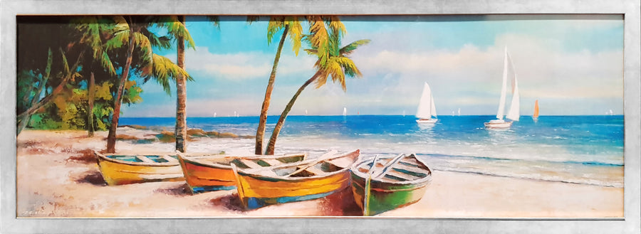 Framed Print of Boats on Beach