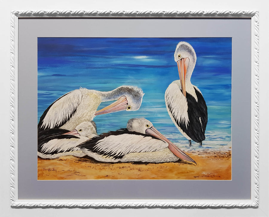 Painting by Danny Bradley of Pelicans (Original)