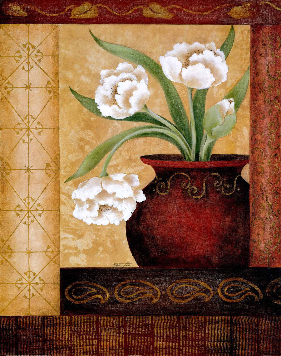 Canvas or Paper Print of Brown pot & White flower 01