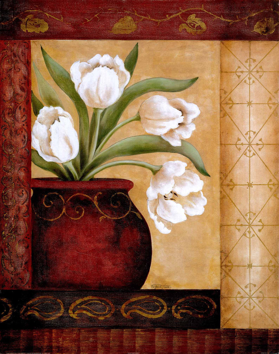 Canvas or Paper Print of Brown pot & White flower 02