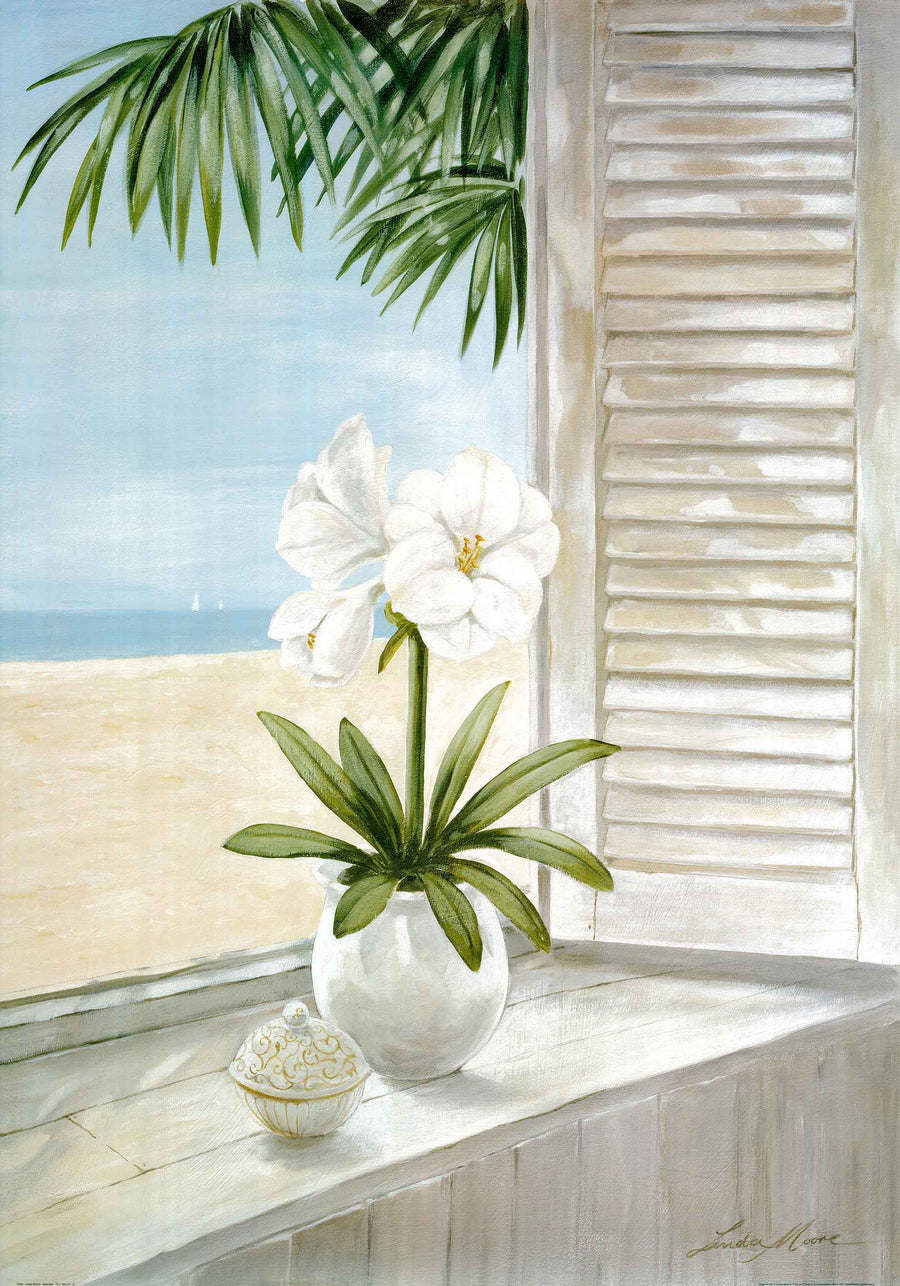 Canvas or Paper Print of Flowers by window No.1
