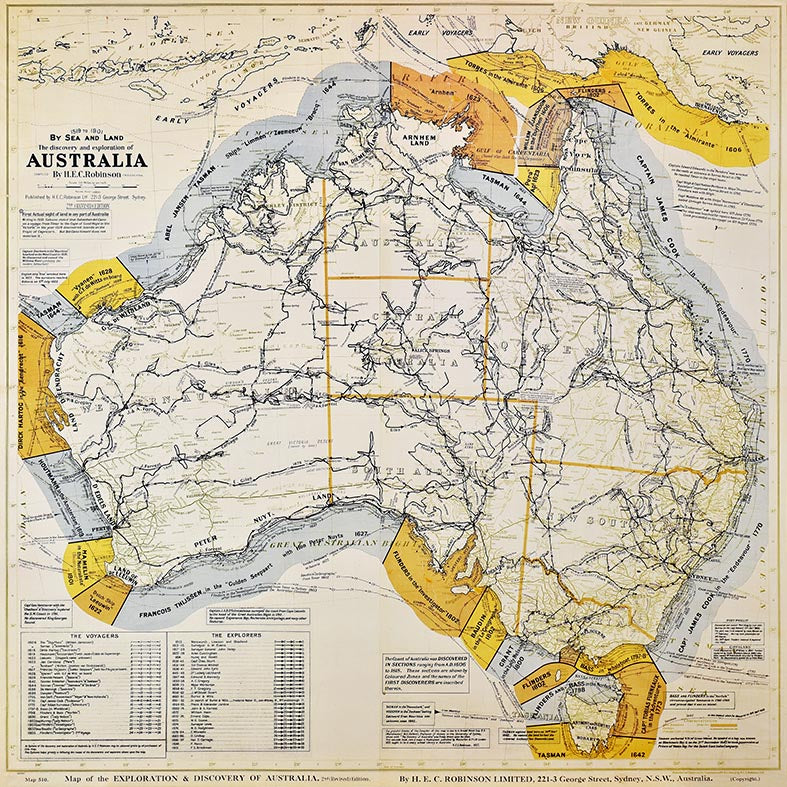 Canvas or Paper Print of Australian Explorers Map