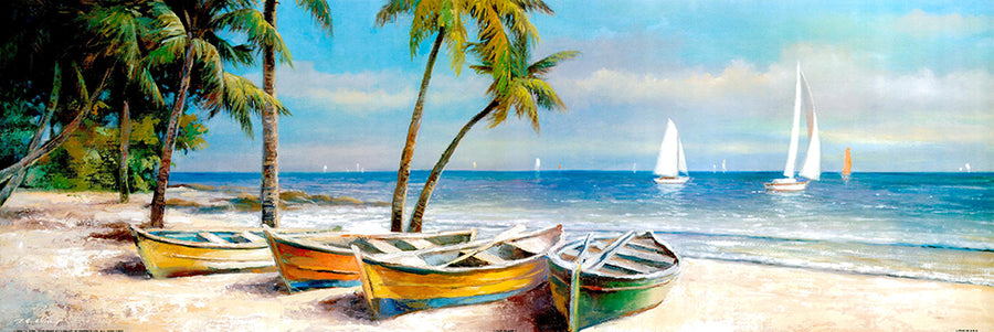 Canvas or Paper Print of Boats on Beach