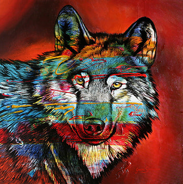 Canvas or Paper Print of Electric Wolf
