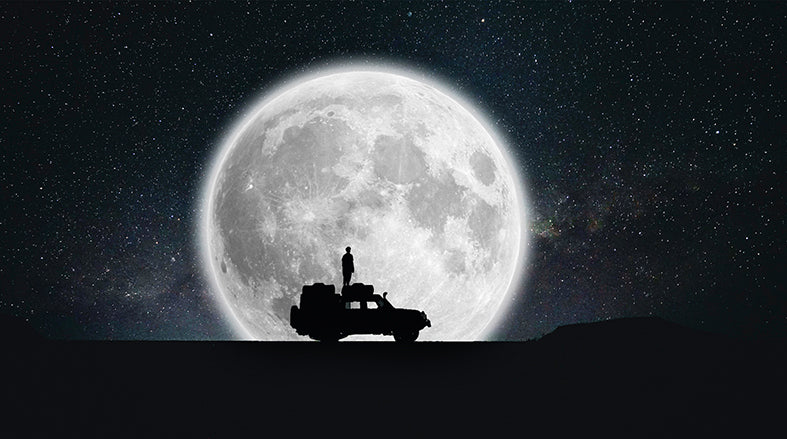 Canvas or Paper Print of Jeep in Moon
