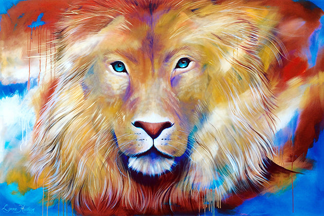 Canvas or Paper Print of Colourful Lion