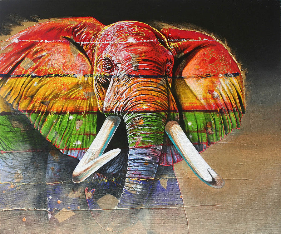 Canvas or Paper Print of Colourful Elephant