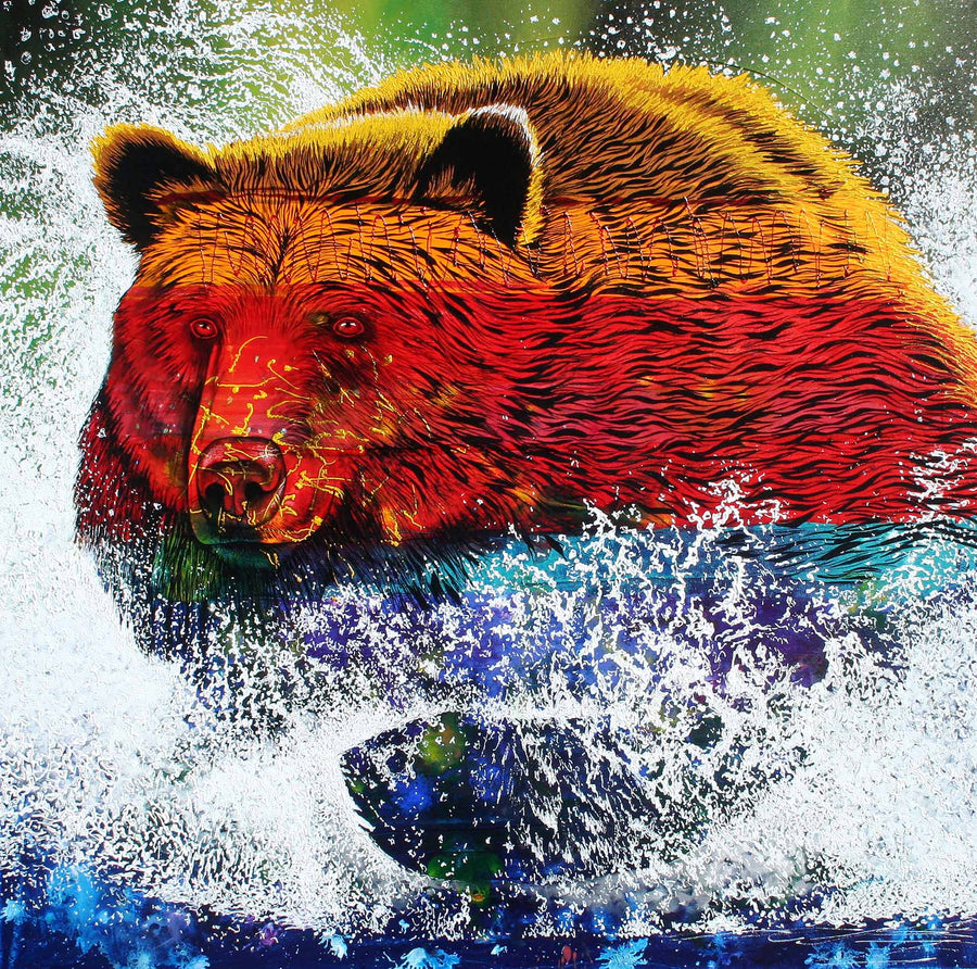 Canvas or Paper Print of The River Charge Bear