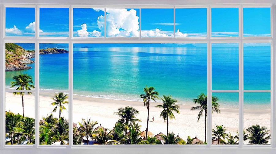 Canvas or Paper Print of Window to Beach