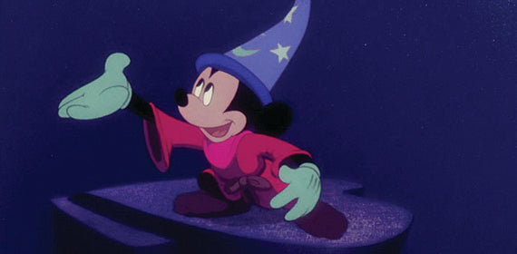 A famous footage from Fantasia, featuring Mickey Mouse