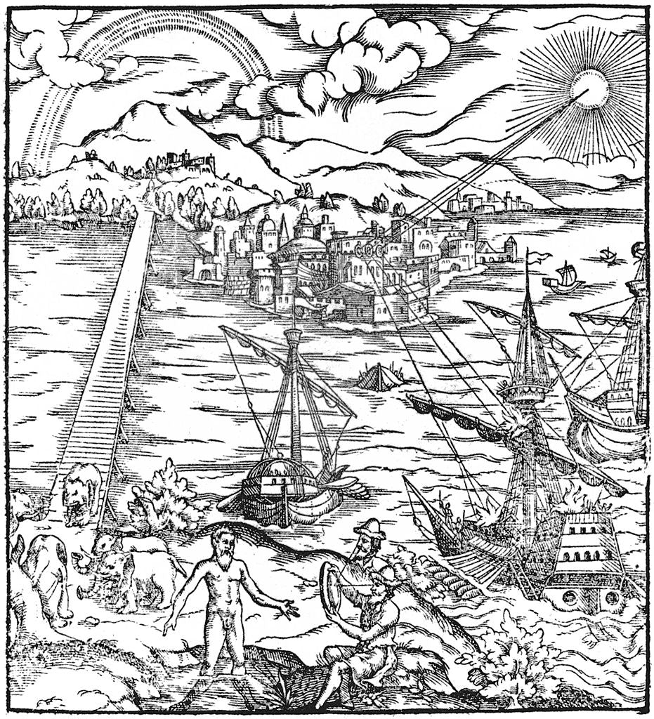 An illustration of Ibn al-Haytham's book Thesaurus opticus depicting Archimedes' burning mirrors in act against the Roman Fleet