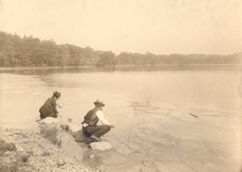 The Ellen and Robert Richards collecting water samples from Jamaica Plain's Pond