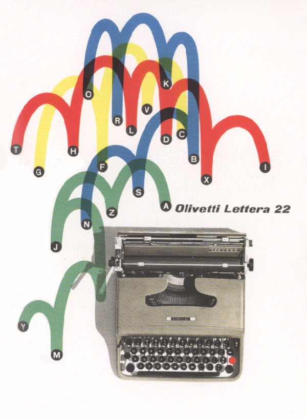The advertisement designed by Giovanni Pintori of Marcello Nizzoli's Olivetti Lettera 22