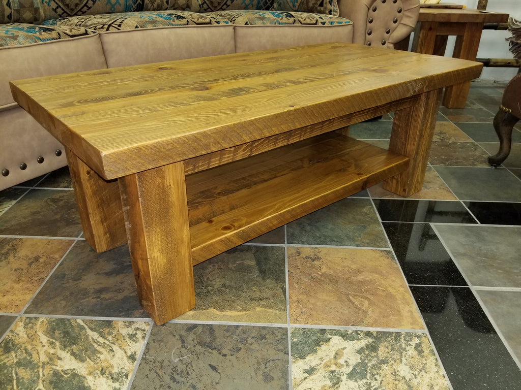 The Sawmill Collection coffee table 24 x 48 with shelf