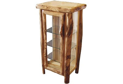 ASPEN LOG Curio in Log Front (27″W)  in Natural Panel & Natural Log.