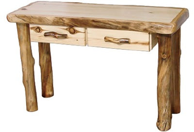 Pleasant Aspen Log Sofa Table With Drawer In Flat Front 48W In Natural Panel Natural Log Inzonedesignstudio Interior Chair Design Inzonedesignstudiocom