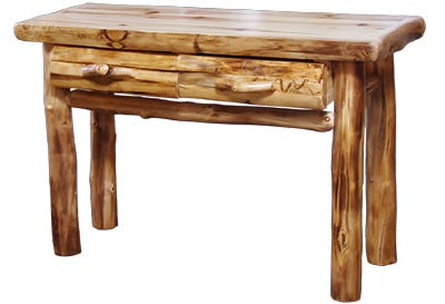 Excellent Aspen Log Sofa Table With Drawer In Log Front 48W In Wild Panel Natural Log Inzonedesignstudio Interior Chair Design Inzonedesignstudiocom