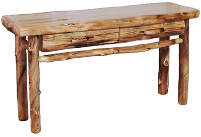 Astonishing Aspen Log Sofa Table With Drawer In Log Front 60W In Natural Panel Natural Log Inzonedesignstudio Interior Chair Design Inzonedesignstudiocom