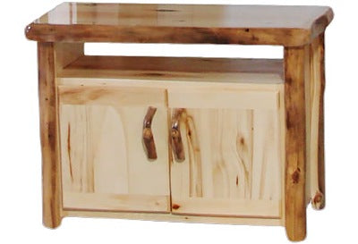 ASPEN LOG TV Stand in Flat Front (39″W)  in Natural Panel & Natural Log.