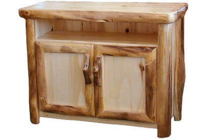 ASPEN LOG TV Stand in Log Front (39″W)  in Natural Panel & Natural Log.