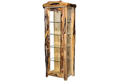 ASPEN LOG Display Cabinet in Log Front (27″W)  in Natural Panel & Gnarly Log