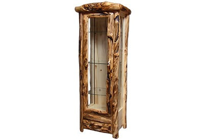 ASPEN LOG 1 Drawer Display Cabinet in Log Front (27″W)  in Natural Panel & Gnarly Log.